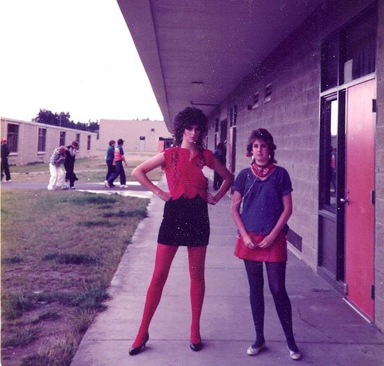 ulie, on the left, in Rock 'n' Roll High School attire as remembered by Katie (long ago, all a blur, and well before the advent of digital photography)