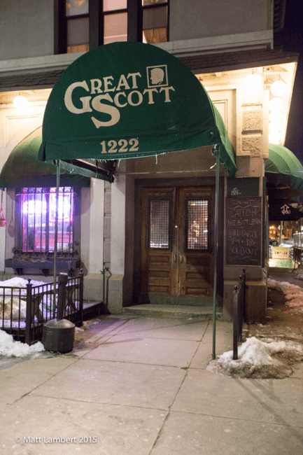 Outside Great Scott on an icy Boston eve