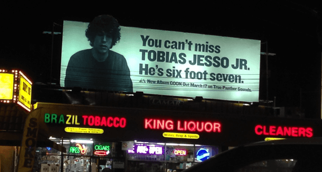Tobias Jesso Jr. on a billboard about 2km away from the venue
