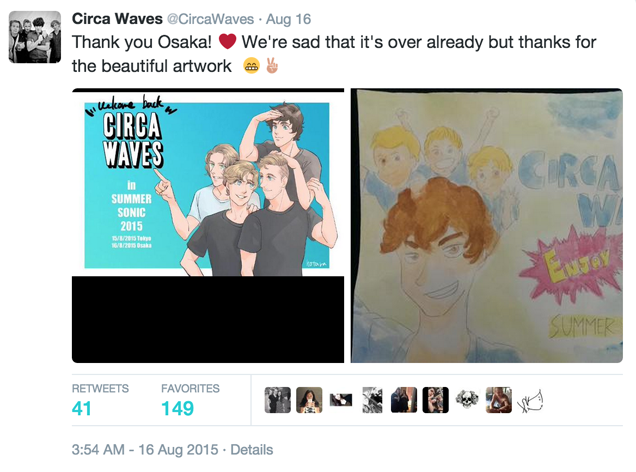 Favorite fan art given to Circa Waves in Japan