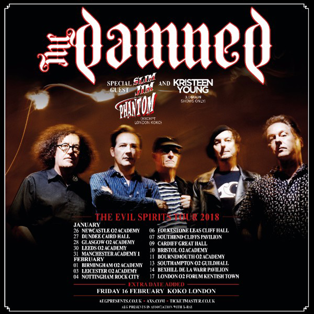 THE DAMNED Announce extra Koko London show for 2018's Evil Spirit Tour