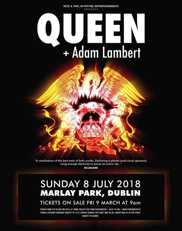 QUEEN + ADAM LAMBERT to play Marlay Park, Dublin this July 3Arena