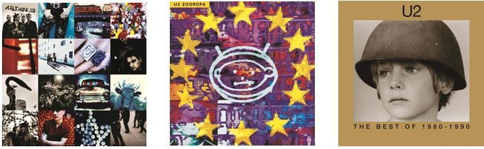 U2 - Reissue: Achtung Baby - Zooropa - Best of 1980-1990 on 2LP Vinyl 27th July