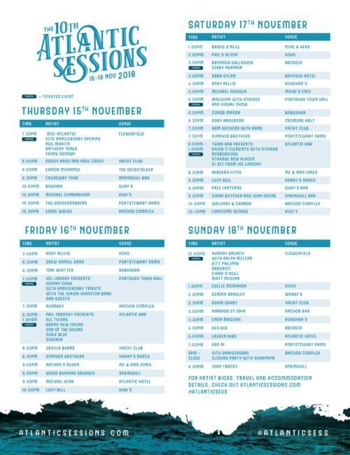 ATLANTIC SESSIONS Timetable of Events Released - November 15- 18th 2018 Adam Grant