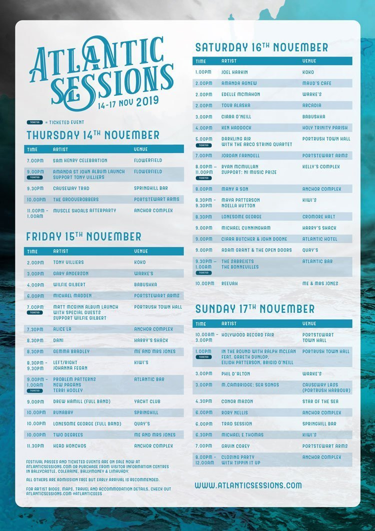 Full Programme for ATLANTIC SESSIONS Announced - Over 100 musicians in over 20 venues in Portrush and Portstewart - 14 – 17 November 2019 Atlantic Sessions