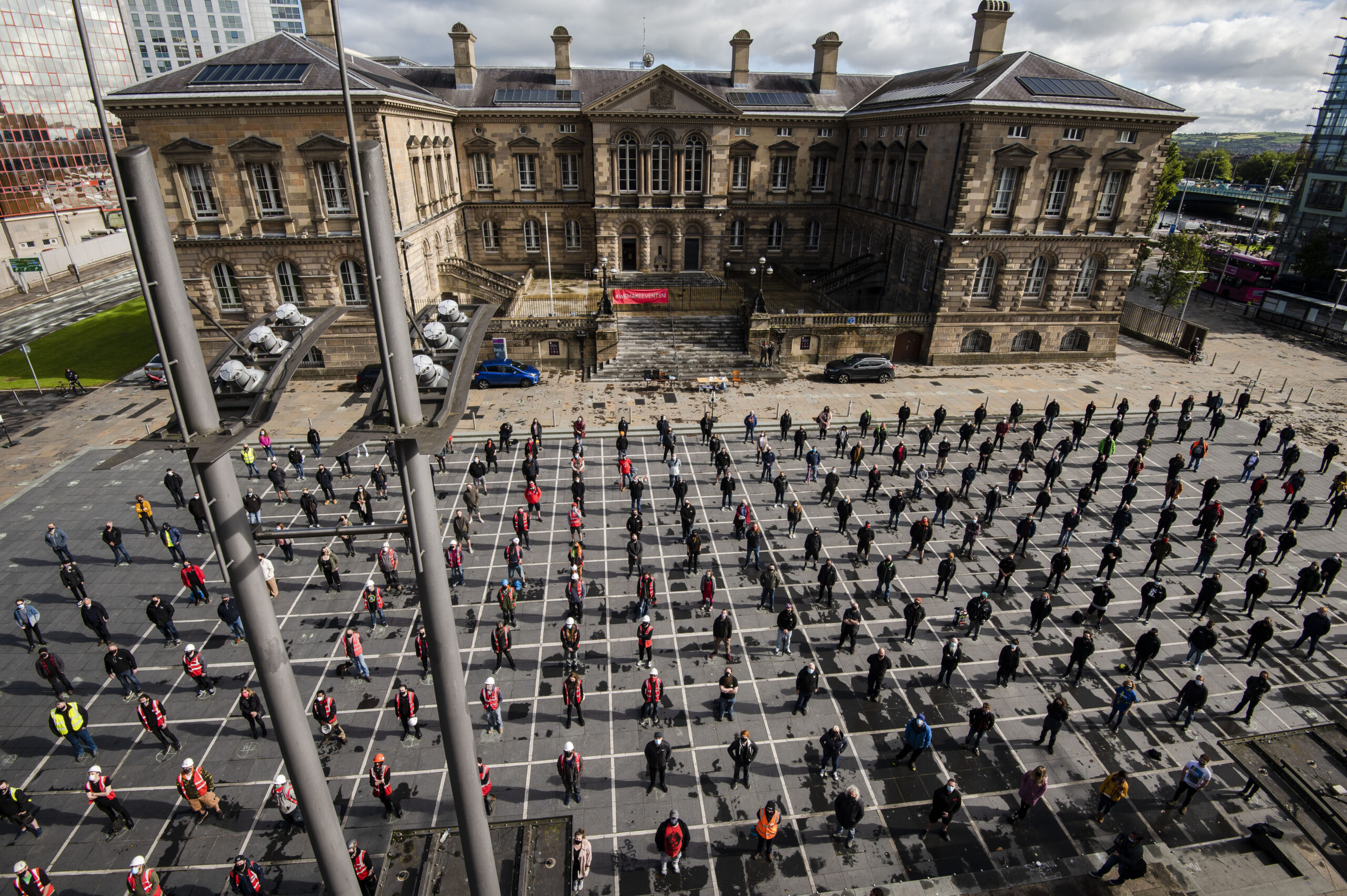 Over 500 members of THE NI LIVE EVENTS INDUSTRY stand peacefully in solidarity at Custom House Square today