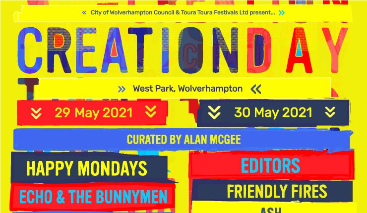 Alan McGee's brand new CREATION DAY festival announced for 2021 - Feat: Happy Mondays, Editors, Friendly Fires, Cast and more 1